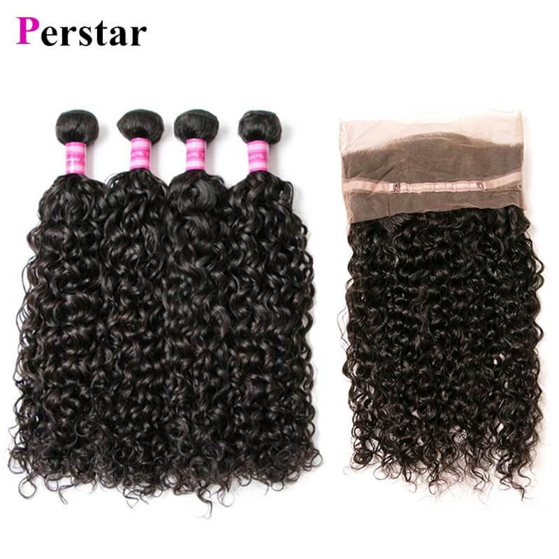water wave 4 bundles with 360 lace frontal natural color