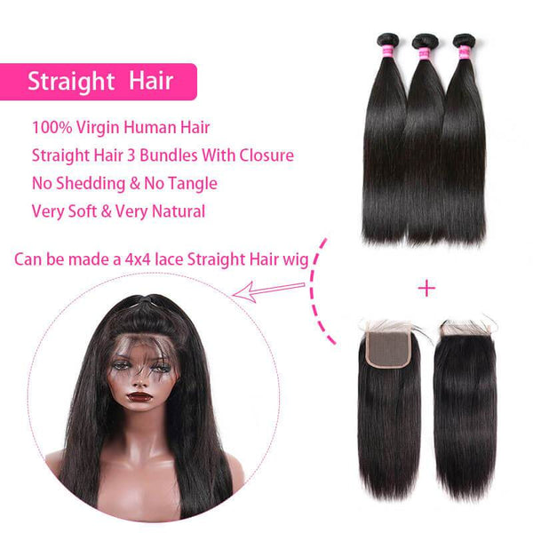 straight brazilian bundles with closure