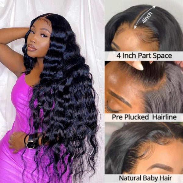 Brazilian Human Hair Body Wave 13x4 Lace Frontal Wigs With Baby Hair