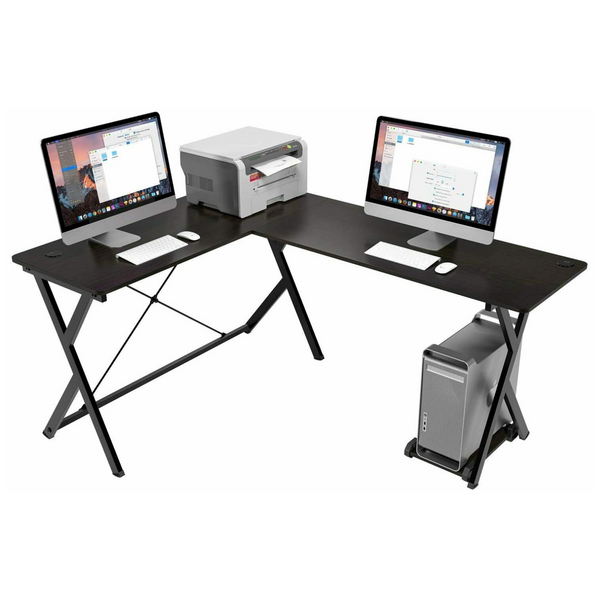 L-Shaped Computer Table | with CPU Storage Holder