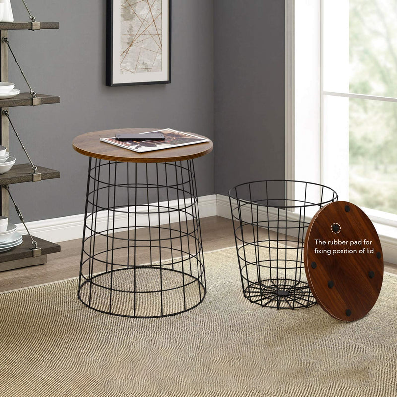 Nesting Table Stacking Side Table with Storage Set of 2