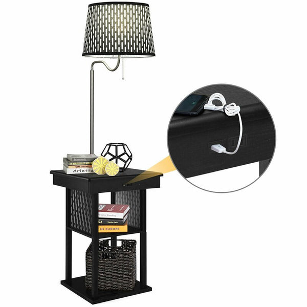 Tray Table Floor Lamp with USB Charging Ports and Outlet
