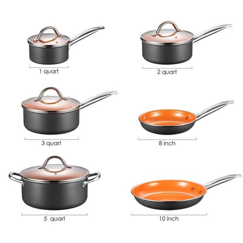 [Out of Stock] AICOOK 10-Piece Cookware Set Pot and Pan Set