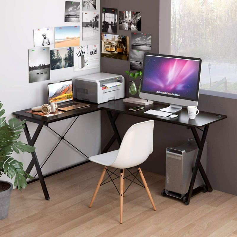 L-Shaped Computer Table | with UPC Storage Holder