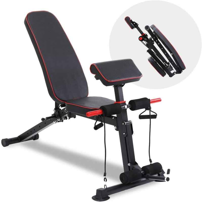 Foldable Weight Bench with Adjustable Backrest and Priest Stool