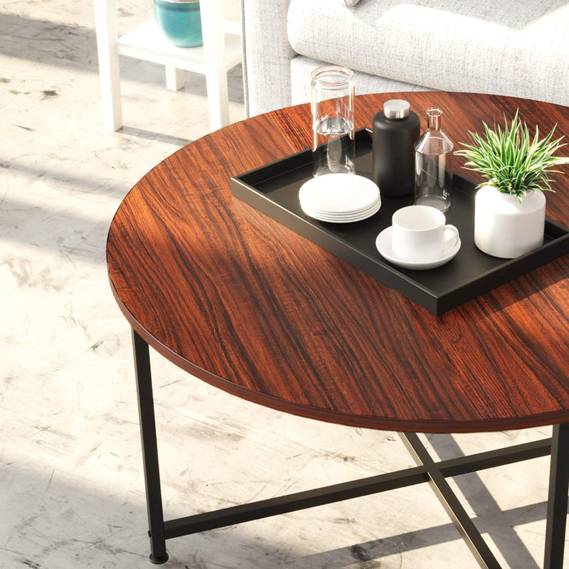 [out of stock] IRONCK Industrial Round Coffee Table | with X Base Metal Frame