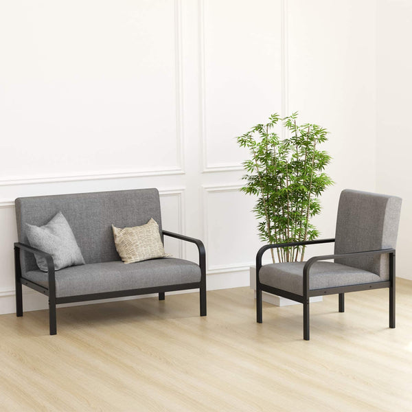 IRONCK Mid-Century Retro Sofa Set | with Loveseat and Seating Sofa Chairs & Metal Armrest