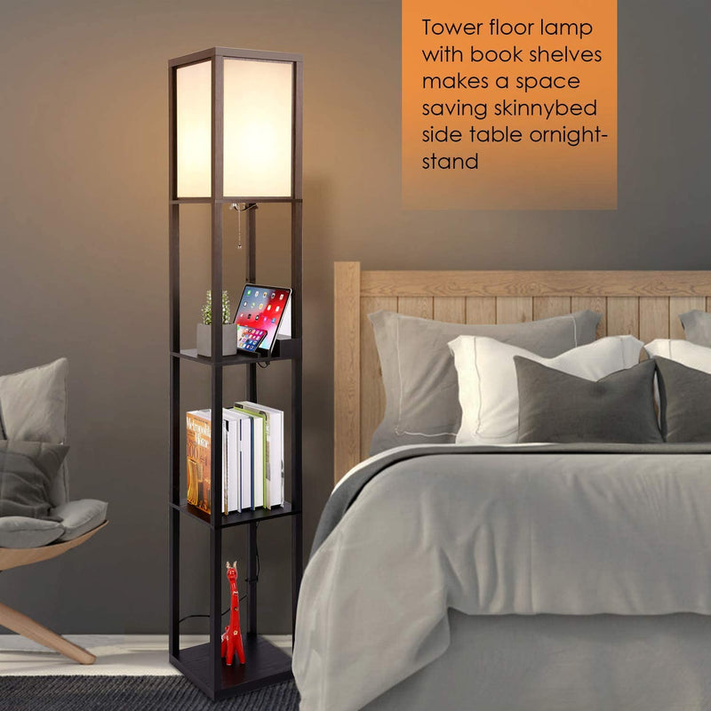 Column Floor Lamp Shelves with Charging Ports and Outlet
