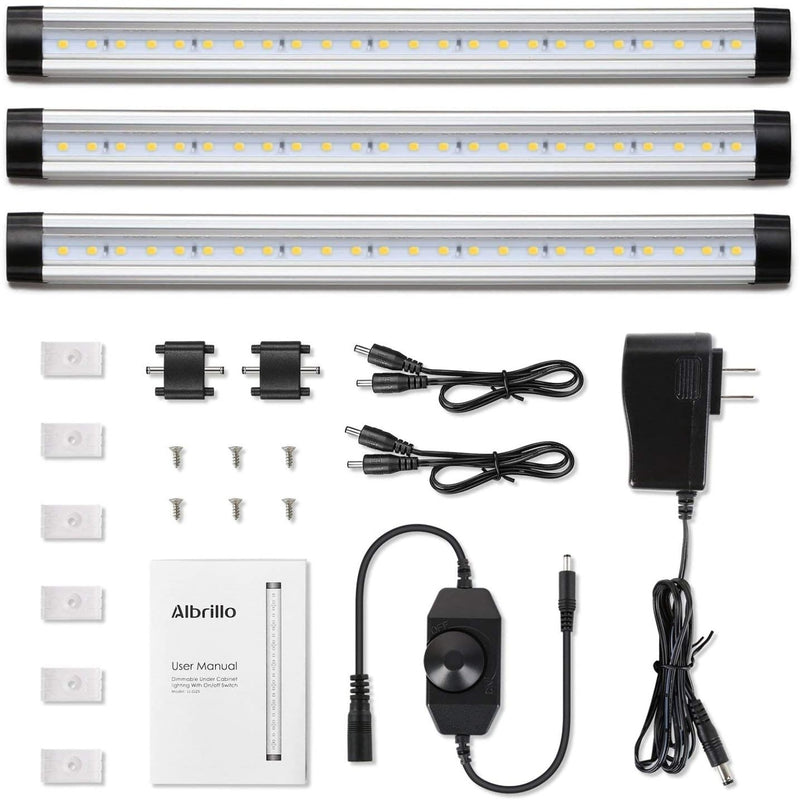 [3 Bar Kit] Under Cabinet LED Lighting Remote Control Dimmable Timer