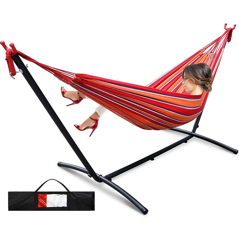 Double Hammock with Stand 9 Ft Max Load 550lbs