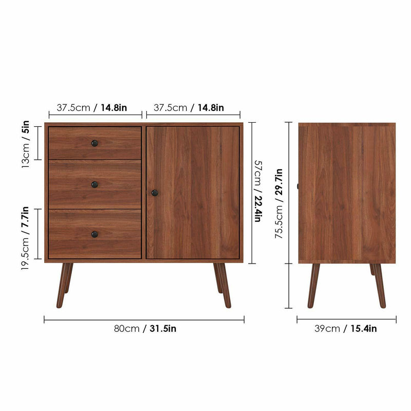 Vintage Wide Dresser Cupboard | 3 Drawer Chest and 1 Side Cabinet