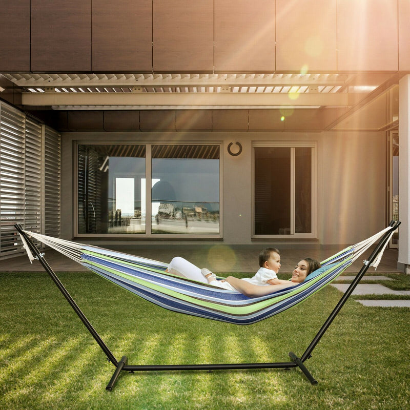 Double Cotton Hammock w/ Space Saving Steel Stand (Max 450 lbs)