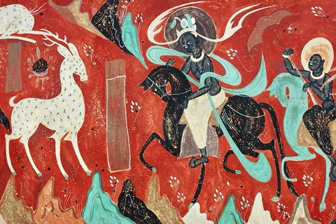 This nine-coloured deer story is based on the Buddhish Jataka tale and the tale was discovered in cave paintings from the west wall in 257 cave of the Mogao Caves in Dunhuang, China.