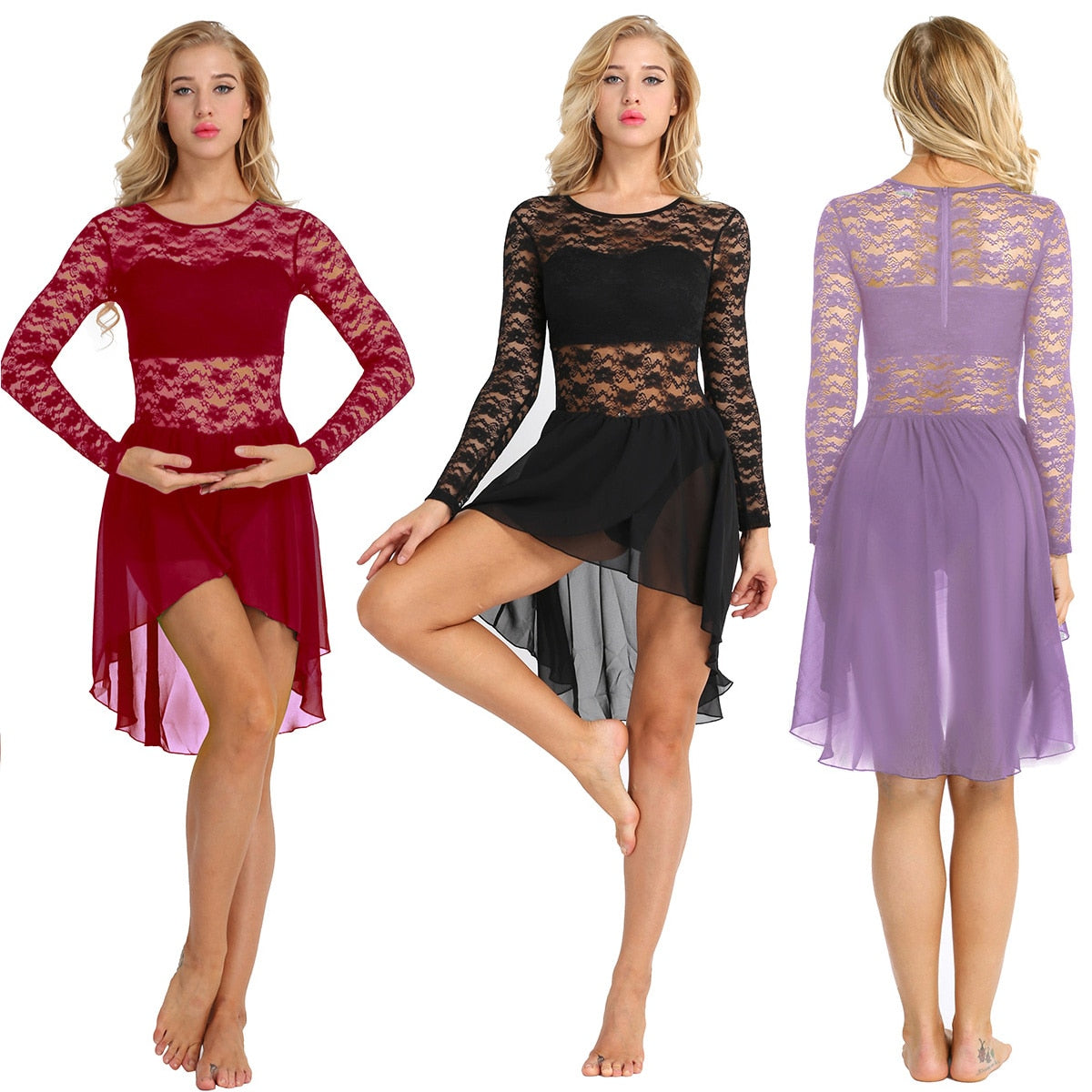 High Low Lace Long Sleeve Costume Dress