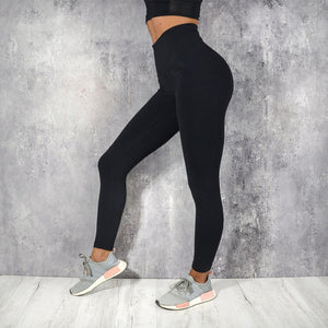 Ladies Simple High Waist Solid Leggings