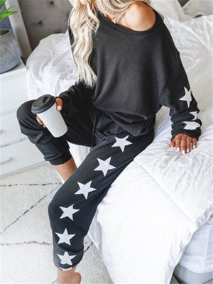 Ladies Lounge Pants & Sweater with Stars