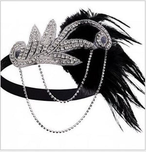 1920's Flapper Headband Chain Rhinestones & Feather
