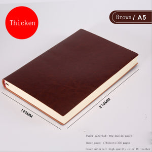 Soft Business Leather Diary Notebook A6 A5 B5 Pu Travelers Journal Thicken School Office Meeting Record Notepad Handbook