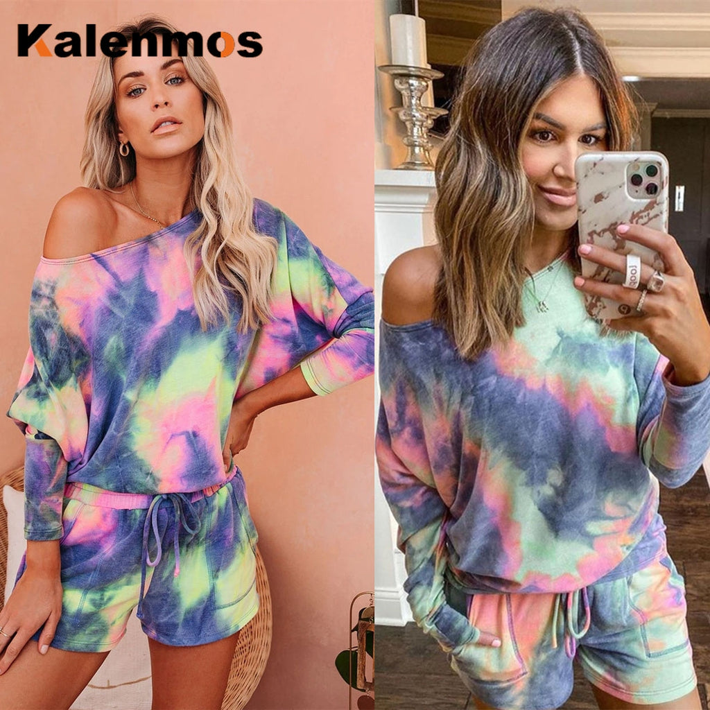 Ladies Tie-Dye Shorts and Top Loungewear Set