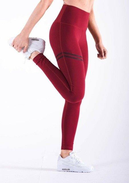 Ladies High Waist Leggings with Stripe