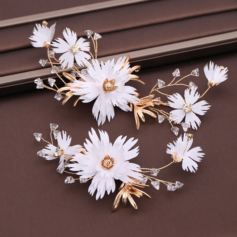 2PC Floral Crystal Hair Pins