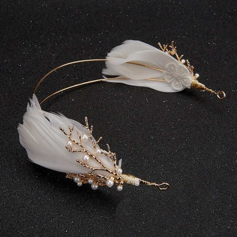 Gold and White Feather and Pearl Headpiece