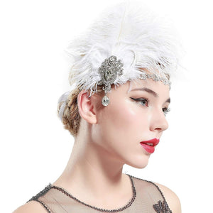 1920's Flapper Headpiece with Feather and Rhinestone Broach
