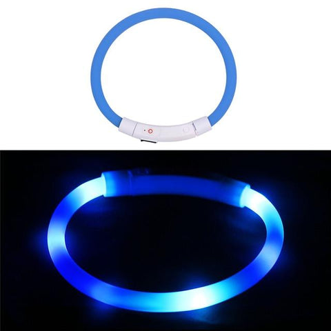 (USB) Adjustable Pet Collar LED Rechargeable Flashing Night Dog Pet Collars