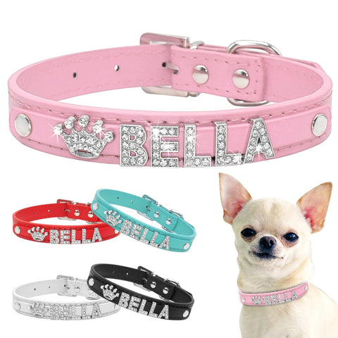 Bling Rhinestone Puppy Dog Collars Personalized