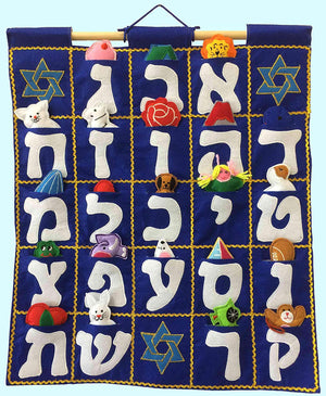 Aleph Bet Wall Hanging Blue- Pockets of Learning