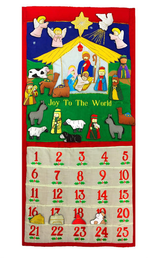 "Traditional Nativity Advent Calendar with ""Joy To The World"""