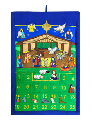 "Nativity Manger Advent Calendar With ""Peace On Earth"""