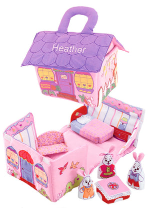 soft pink and purple fabric Bunny House by Pockets of Learning