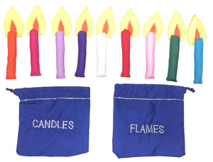 Candles, Flames, and Pouches - Replacement pieces for Happy Hanukkah Menorah Jewish Wall Hanging
