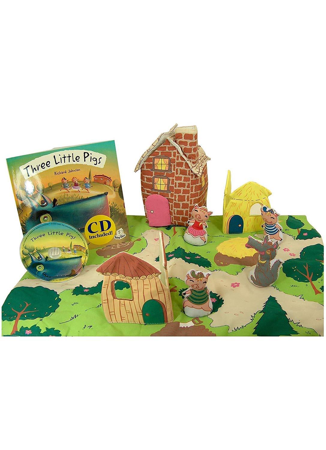 Speech therapy Three little pigs  and wolf Fairytale Story stones Montessori toy