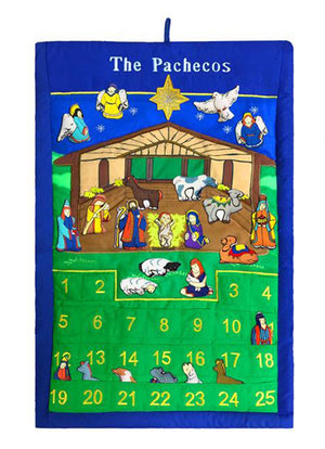 "Nativity Manger Advent Calendar With ""Family Name"""