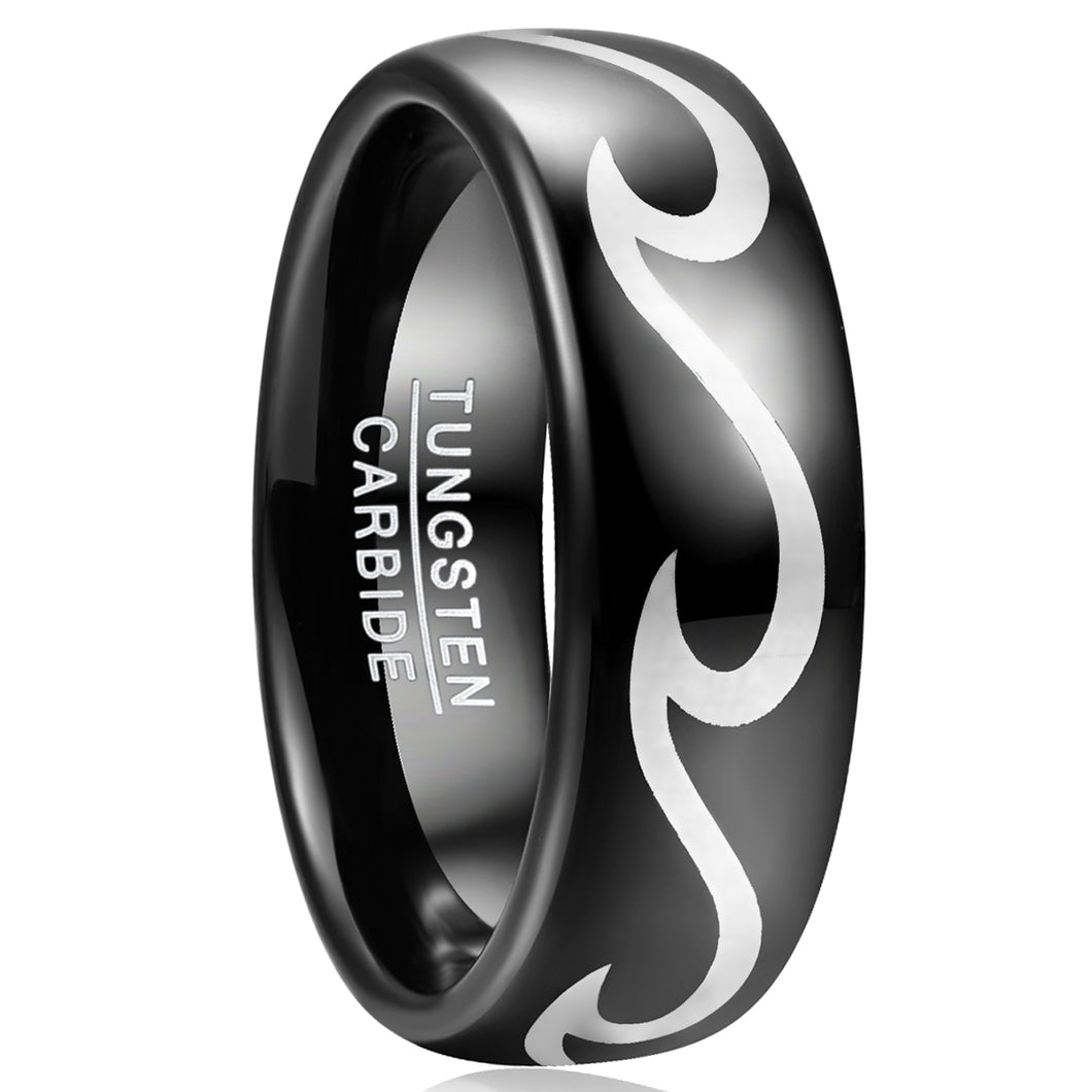 Laser Wave Pattern Tungsten Carbide Ring
