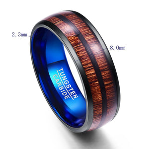 8MM Wide Plating Black and Blue Dome Tungsten Rings