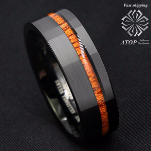 8mm Black Brushed Tungsten Carbide Ring Off Center Koa Wood