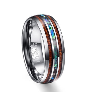 8mm Hawaiian Koa Wood and Abalone Shell Tungsten Carbide Rings