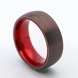 8mm Brown Surface Red Inner Dome Brushed Finished Tungsten Carbide Ring