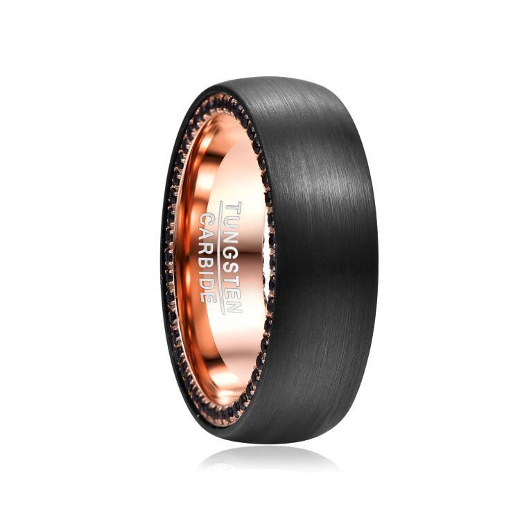 Black Zircon Side Inlaid Tungsten Steel Carbide Ring