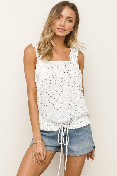 Ruffle Strap Polka Dot Top