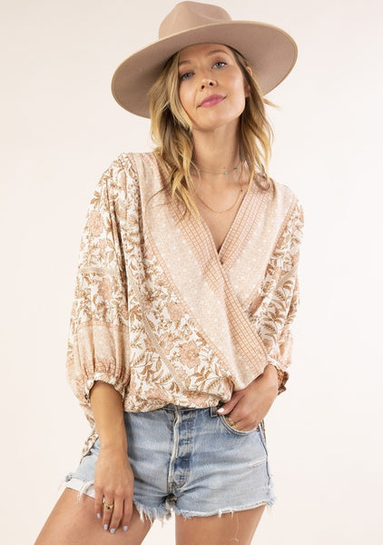 High/low Blush Combo Blouse