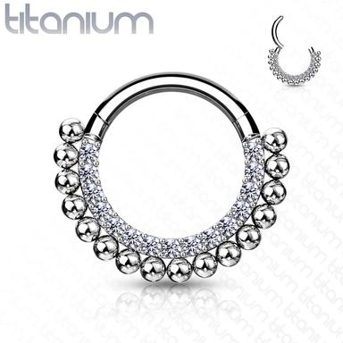 Segment Ring - Titanium Hinged CZ and Balls