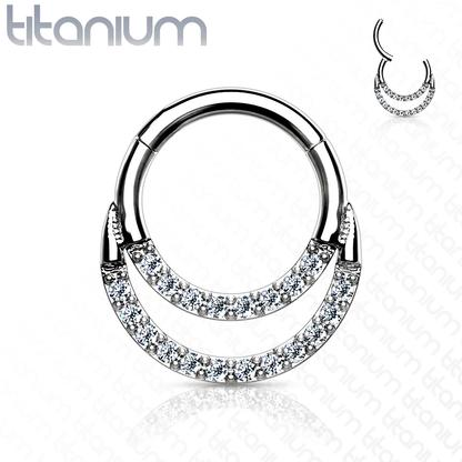 Segment Ring - Titanium Hinged Double CZ