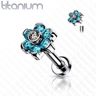 Labrets - Internally Threaded - Titanium Flower
