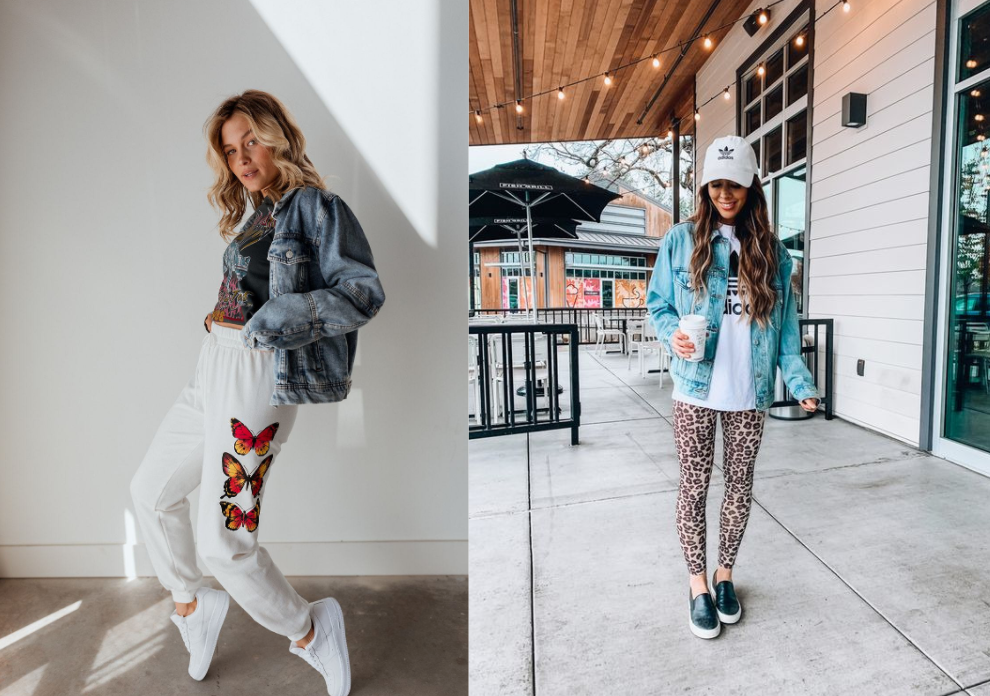 Denim Jacket with Graphic Pants Outfit Inspo