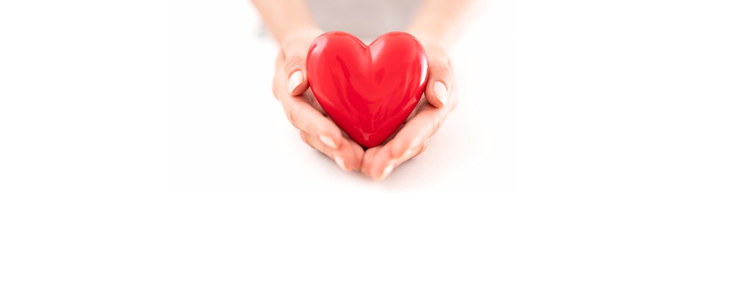 Hands holding a ceramic love heart as an offering of love and support.