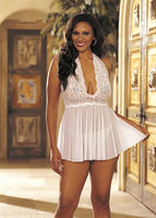 Stretch Mesh and Baby Doll With  Bow - Queen Size - White HOT-96164QWHT